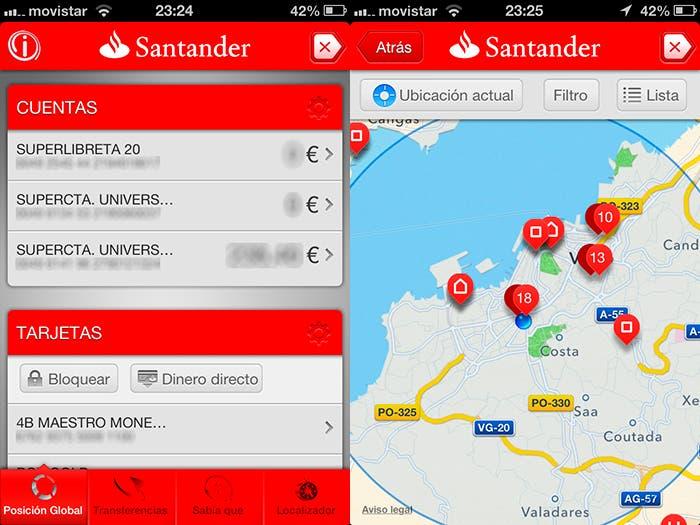 Ventanas de la aplicación del Banco Santander para iOS