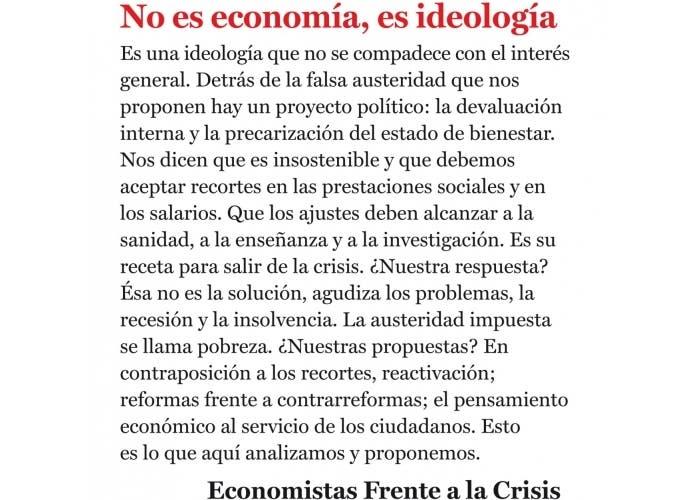 """Portada del libro """"No es economía, es ideología"""""""