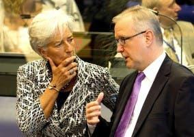 Rehn, vicepresidente de la CE y Lagarde, presidenta del FMI