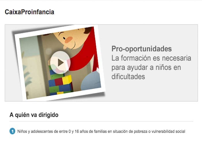 Obra social la Caixa, Programa Proinfancia