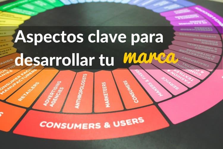 Ruleta de colores con clientes y usuarios  en la que se añade texto con aspectos clave para desarrollar tu marca