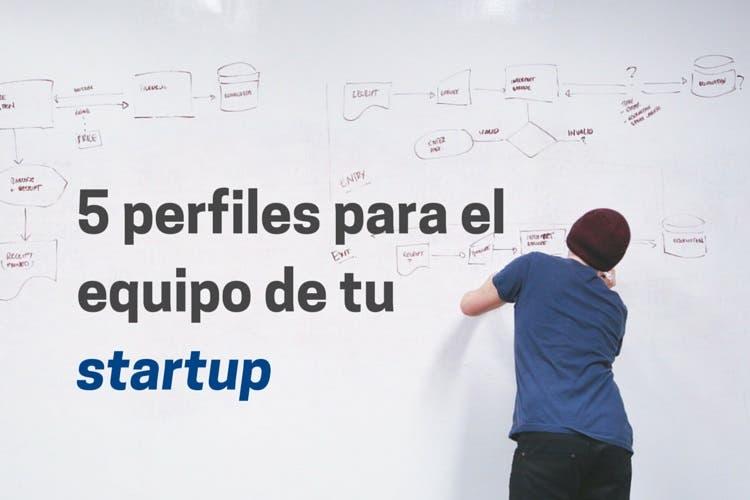 hombre pintando en pizarra objetivos de su startup. Texto aparece con los 5 perfiles para el equipo de tu startup
